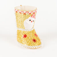 Vintage Gold Tinsel Cardboard Santa's Boot Candy Container Christmas Ornament