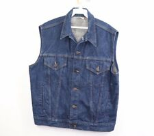 Vintage 60s Mens Size 44 Full Button Western Denim Jean Jacket Vest Blue Cotton