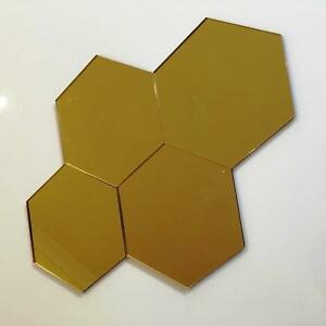 """Gold Mirrored Acrylic Hexagon Crafting Mosaic/Wall Tiles Sizes 1-20cm 1""""-7.9"""""""