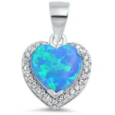Blue Fire Opal Heart with CZ .925 Sterling Silver Pendant Necklace