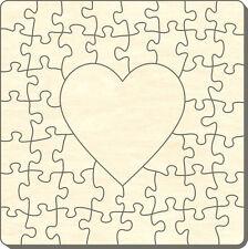 Blanko Holz-Puzzle Quadrat mit Herz, 47 Teile, 40x40 cm, zum Selbst Bemalen