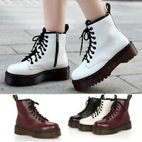 Winter Womens Platform Martin Ankle Boots Warm Motorcycle Punk Lace Up Shoes #CA
