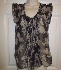 Tramp Top Shirt Blouse Small M Sheer Floral black tan BOHO sleeveless
