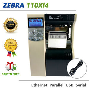Zebra 110Xi4 Thermal Transfer Label Printer LAN Peel Rewind UPS Frmw