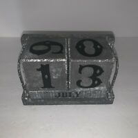 Large Gray Block Desk Calendar Display Country Rustic Farmhouse Home Decor