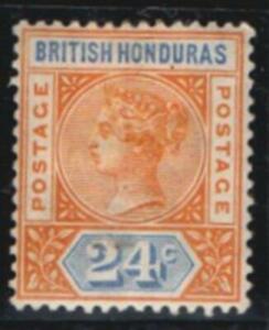 BR.HONDURAS.1891.ORANGE/BLUE .24c. MOUNTED MINT SG60s.