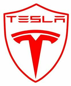 4 x CUSTOM TESLA SHIELD CAR DECAL STICKERS FREE P&P 21 COLOURS IN STOCK L@@K