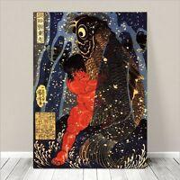 "Vintage Japanese SAMURAI Gods Art CANVAS PRINT 24x18""~ Kuniyoshi  #242"