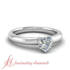 1/3 Ct Heart Shaped Diamond Classic Solitaire Engagement Ring 10K Gold