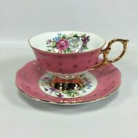 Pink and Gold Tea cup and Saucer SHAFFORD Hand Decorated Set made in Japan