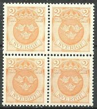 Sweden 1911 Sc# 96 Arm 3 Crowns orange (with creases) block 4 MNH