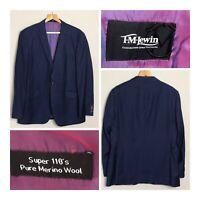 T M LEWIN Super 110s Pure Merino Wool Navy Suit Jacket 44R Smart Work Office VGC