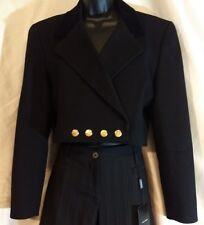 ESCADA Womens Black Cashmere Wool Nautical Vintage Jacket SIZE 38 US 8