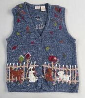 Bobbie Brooks Women's Navy Blue Embroidered Dogs Puppies Sweater Vest - 14/16W