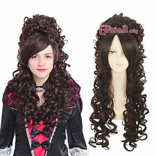 Marie Antoinette Baroque Brown Renaissance Long Wave Curly Cosplay Wig zy34E