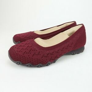 Skechers Bikers Witty Knit 49453 Burgundy Slip On Comfort Shoes Size 6 Wide