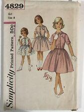 1950's Vintage Sewing Pattern Simplicity 4829 Girls Sz 8 Dress Monogram Transfer
