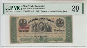 1862 US 10 Cents Fractional Currency PMG 20 Rochester Monroe County Bank