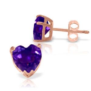 Genuine Amethyst Gemstones Hearts Stud Earrings In 14K Rose Gold