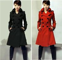 Hot Women Wool Blend Military Trench Coats Belted Double Breasted Ladies Jacket