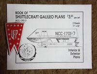1981 Star Trek Galileo 7 Shuttlecraft Blueprint Set- 2 Sheets w Free UFP Patch