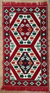 Turkish Kelim, Anatolian Carpet, Red Colour, Machine Washable, Kilim W Tassels