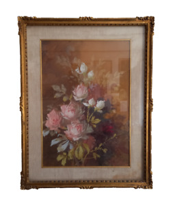 Quadro dipinto  tempera acquarellata - natura morta con fiori -  primi 900