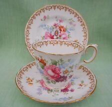 Crown Staffordshire England's Bouquet Platillo de taza china de hueso & Plate Trio