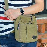 Vintage Men's Canvas Leather Satchel School Military Shoulder Messenger Bag Lot