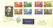 HUNGARY 1947 FDC COVER MI# 985/92 --ROOSEVELT TO USA - F/VF