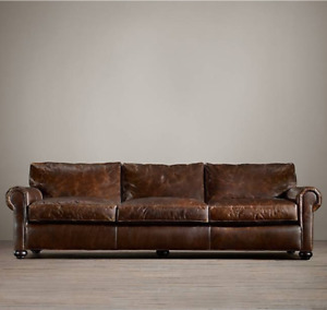 8FT RESTORATION HARDWARE ORIG LANCASTER LEATHER SOFA (LUX)