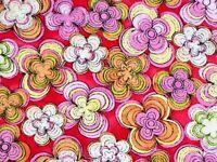 FAT QUARTER  QUILTING TREASURES FLOWER FABRIC  AZIZA PINK RETRO SPIRAL FLORAL QT
