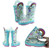 Waterproof Kids Rubber Rain Boots Boy & Girl Toddler Shoes With Handles Fashion