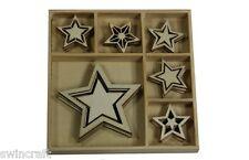 Craft Emotions CAJA DE FORMAS MADERA ADORNOS 5 Puntas Estrella Navidad 30 piezas