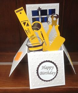 Handmade DIY Tiling Tools Themed birthday Greetings pop up card