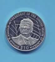 LIBERIA - FANTASTIC RONALD REAGAN PROOF COMMEMORATIVE 10 DOLLARS, 2003 KM# 808