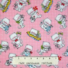 """Cat Fabric - Miss Kitty's Colors Toss on Pink & White - Henry Glass 26"""""""