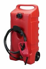 Portable Gas Can Tank with Hand Pump & Hose Large Gasoline Container on Wheels