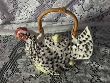 FITZ AND FLOYD HEN WITH CHICKS POULET 1990 WITH BAMBOO HANDLE TEAPOT CHICKEN