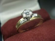 18k 18ct Solid Gold Solitaire Diamond Vintage Ring. 0.30ct Size N-O 2.60g