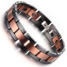 """Mens Tungsten Bracelet, Black, Rose Gold, 7.87"""" hb2191"""