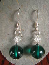 & Silver dangle earrings Green glass Austrian Crystal