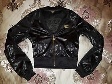 RARE Adidas Respect Me by Missy Elliot Black Leather Look Gold Crown Crop Jacket