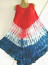 Summer Dress Tie Dye Red Blue White Loose Fit One Size Beach Summer Wear *New*