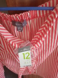 Red and white striped blouse new with tags 12