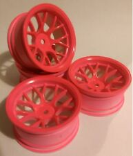 Rc Car 1/10 Drift Y Spoke Rims Wheels 9mm Offset fits Tamiya HPI PINK 12mm hex