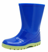 KIDS BOYS CHILDRENS BLUE RUBBER RAIN BOOTS WELLIES WELLINGTONS INFANT SIZES 4-12
