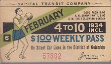 Trolly/Bus pass capital Transit Wash. DC--1934 Basketball-----63