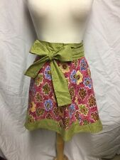 Hostess Pink Floral with Green Accent Half Apron HANDMADE - NEW!