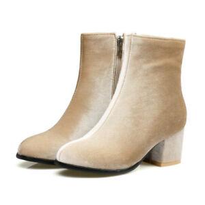 Elegant Office Lady Girls Velvet Chelsea Ankle Boots Chic Block Heel Dress Shoes